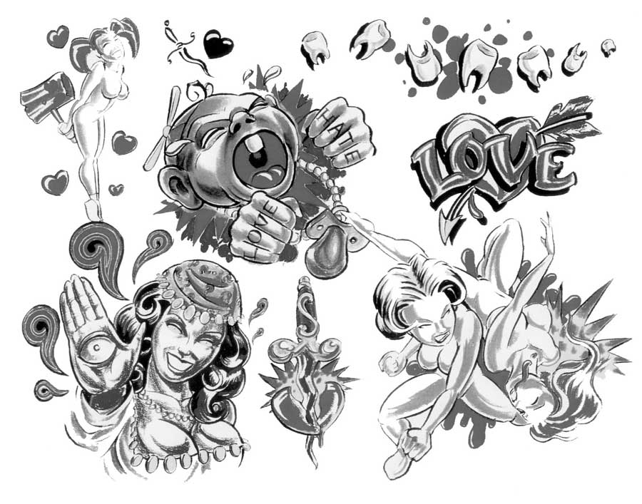 """Tattoo flash. """"The Must Have Collection"""". Sheet 270"""